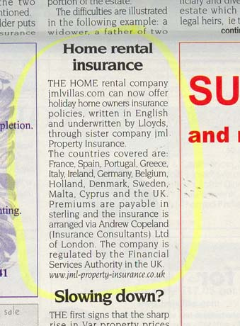 Pleasing Article From The Riviera Times April 2006 From Jml Insurance Home Interior And Landscaping Transignezvosmurscom